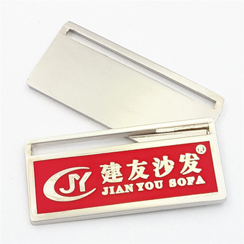 Custom Eco-friendly Material Rectangle Metal Brand Name Label for Sofa