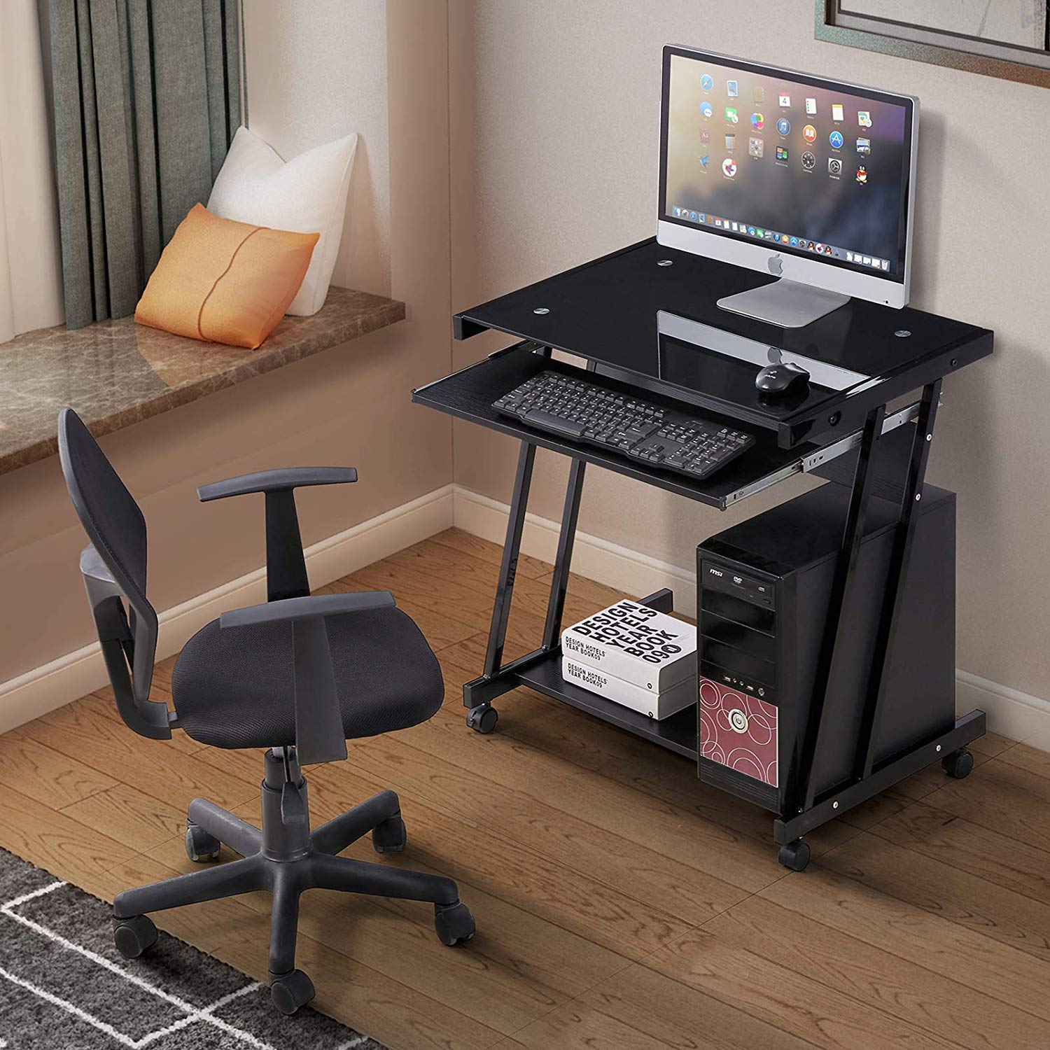 Mecor Tempered Glass Black Computer Desk w/4 Wheels, Keyboard Tray, CPU Power Stand, Metal Frame Laptop PC Table Workstation Home Office