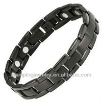 New mens black Titanium magnetic bracelet in stainless steel with free link removal tool