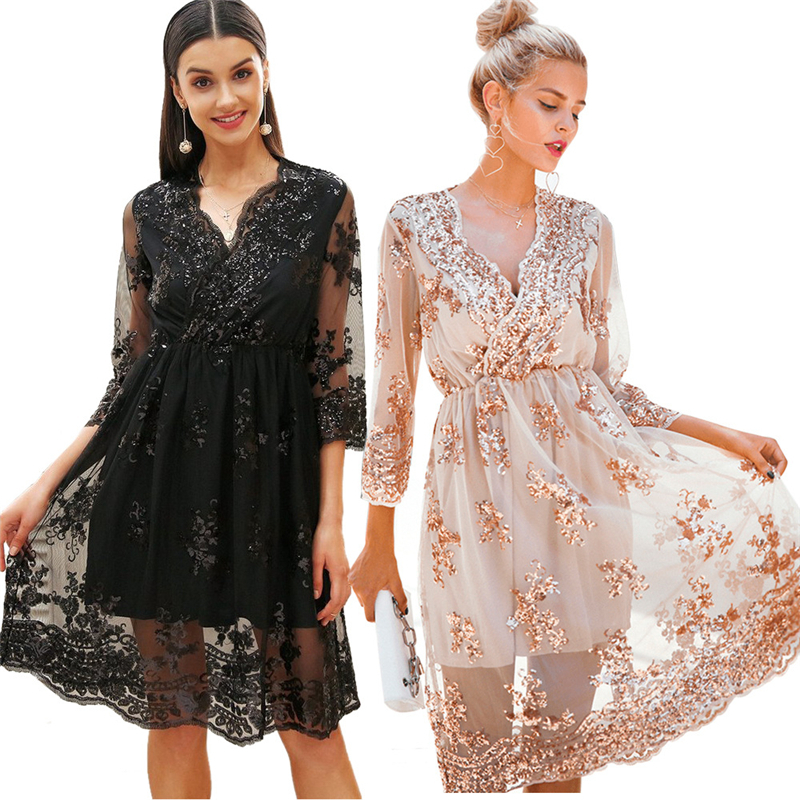 V neck long sleeve sequin party <strong>dresses</strong> women <strong>Sexy</strong> mesh streetwear christmas midi <strong>dress</strong> female 2018 autumn <strong>dress</strong>