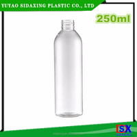 250ml clear round plastic pet bottle