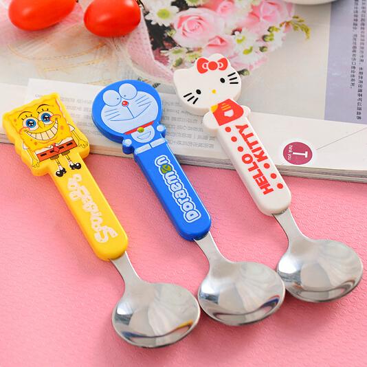 Lovely Cartoon Steel Baby Spoon Kids Tableware Baby Feeding Tools Flatware Coffee Spoon Multicolor 1 Piece