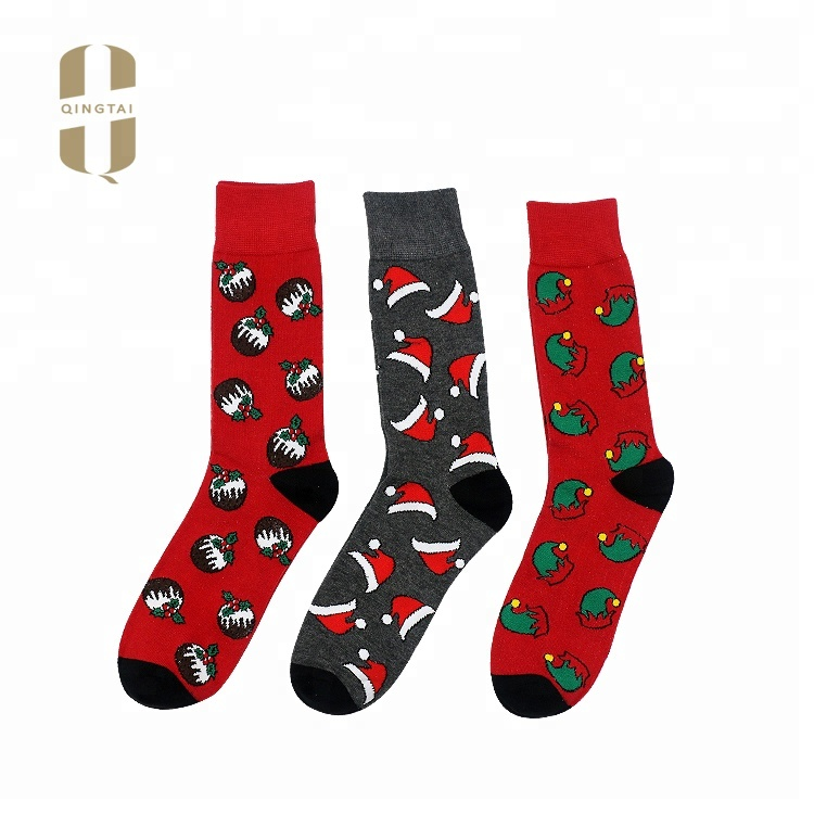 QINGTAI custom cheap price casual colorful breathable fashion mens happy socks
