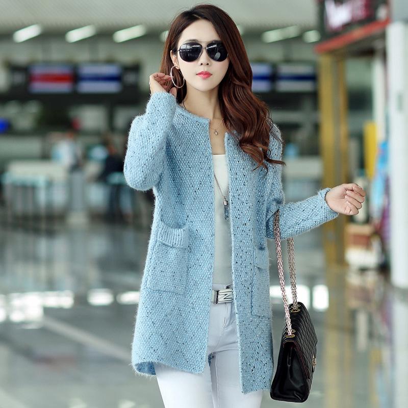 2016 spring font b winter b font Korean coat female women s sweaters cardigans double pockets