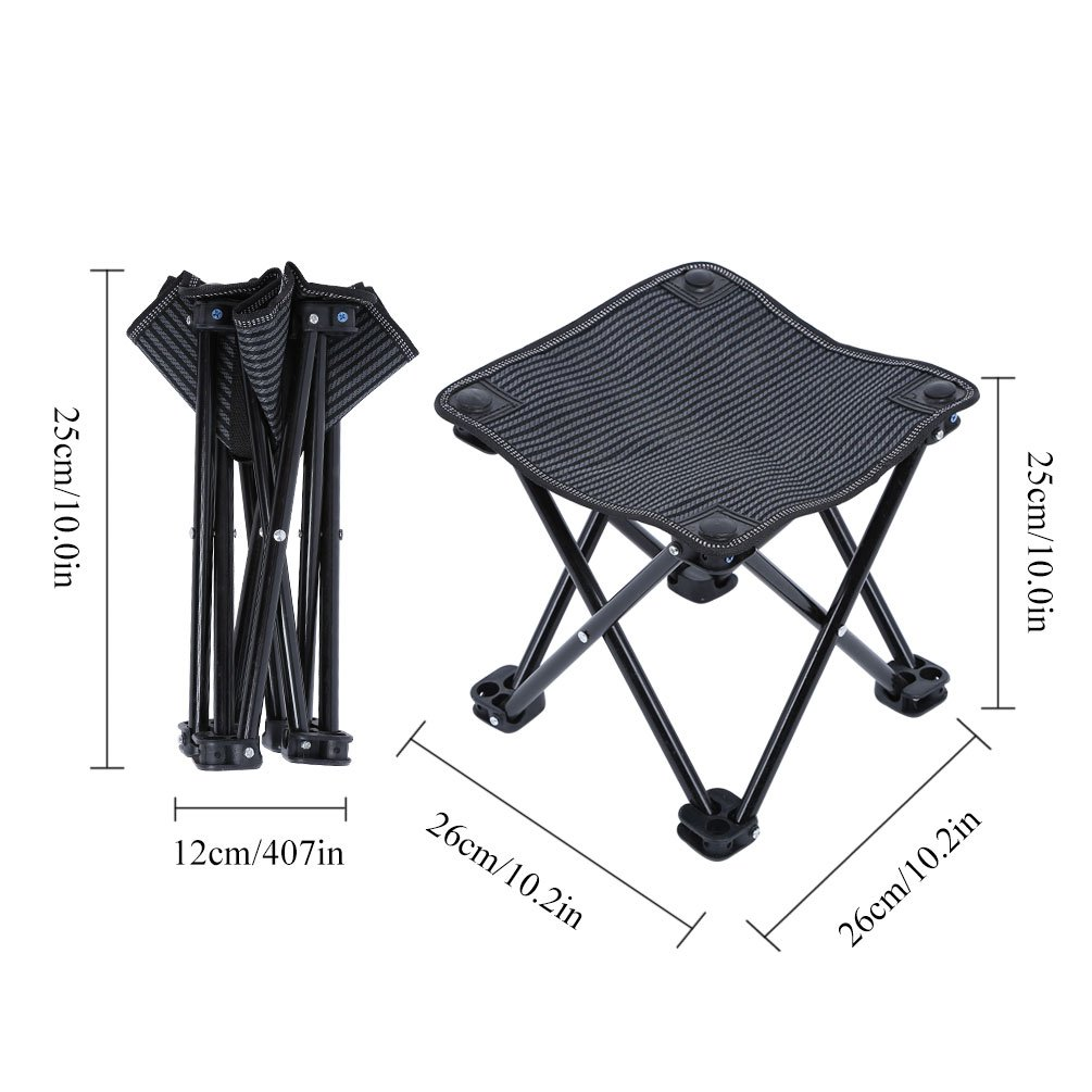 Portable Folding Stool Quad Chair with Bag for Camping Travel Garden Beach