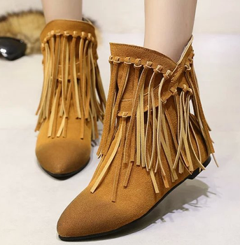 1b7a3aa781cd China alibaba women s shoes ladies tassel ankle boot women suede flat boots