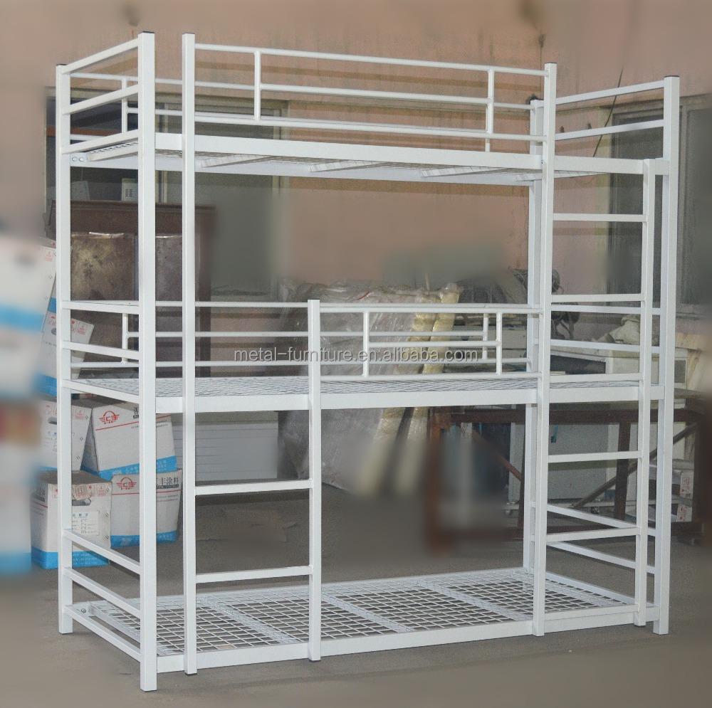 Adulto moderno litera muebles baratos triple blanco cama de hierro ...