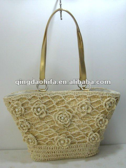 Fashion Wheat Straw Beach Tote Bags