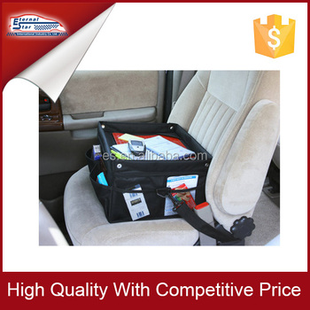 Compact car organizer with writing table