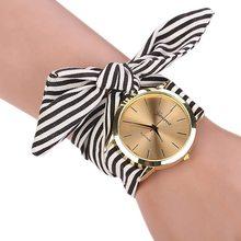 Chegam novas meninas senhoras relógios das mulheres moda Casual tecido tarja Bracelet Watch 3 cores doce mulheres vestido relógio de pulso