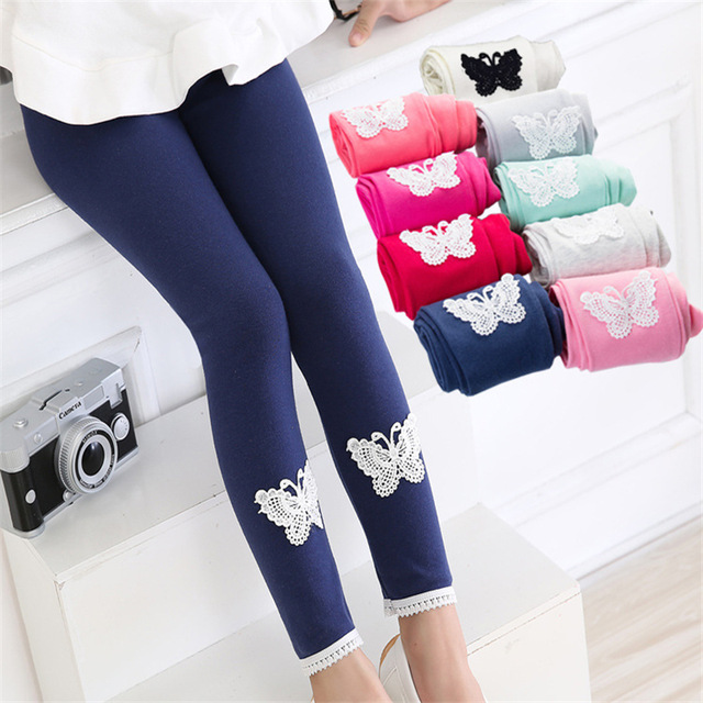 Spring Autumn Girls leggings New Kid Warm Comfortable Cotton Soft Lace Butterfly Pants Hot Trousers