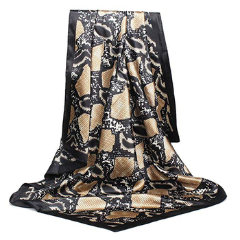 Women Fashion Custom Printed Polyester Satin Square Scarf
