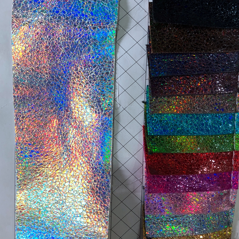 different emboss design holographic <strong>leather</strong> and fabric for fashion making