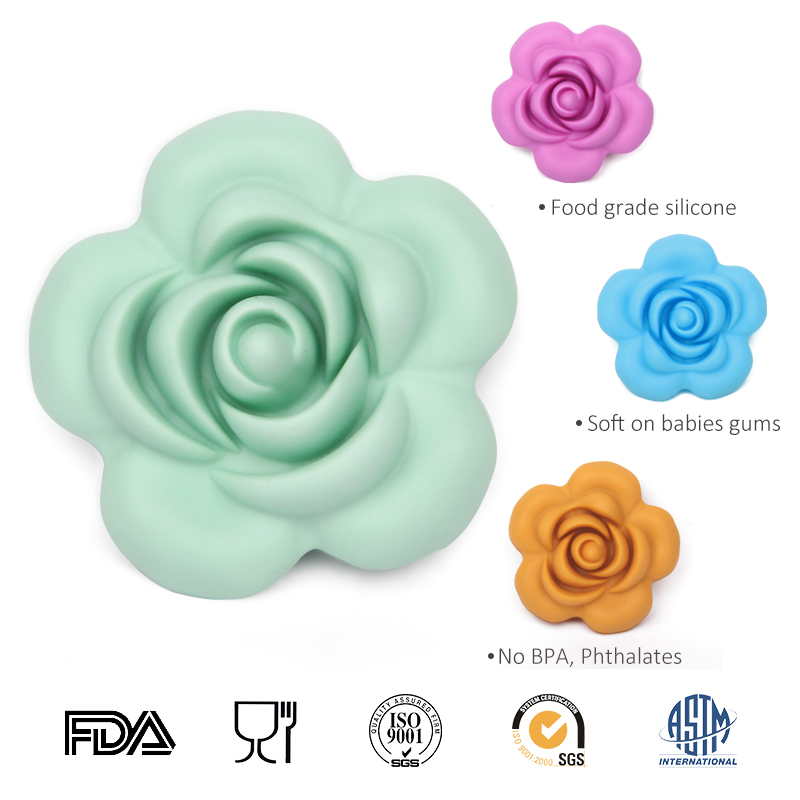 2015 New Color Silicone Teething beads Wholesale Silicone rose beads