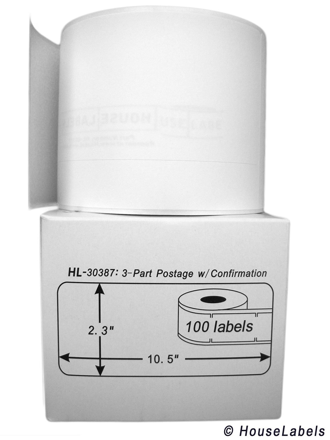 "HouseLabels DYMO-Compatible 30387 3-Part Internet Postage Labels (2-5/16"" x 10-1/2"") -- BPA Free! (6 Rolls; 100 Labels per Roll)"