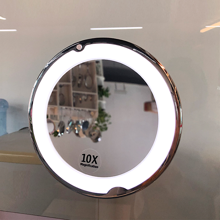 Amazon Best Seller Plastic Round Led Light Swivel Portable Suction Cup Mirror