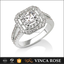 Solitaire ring princess diamond 0.5ct brilliant cut wedding ring jewelry