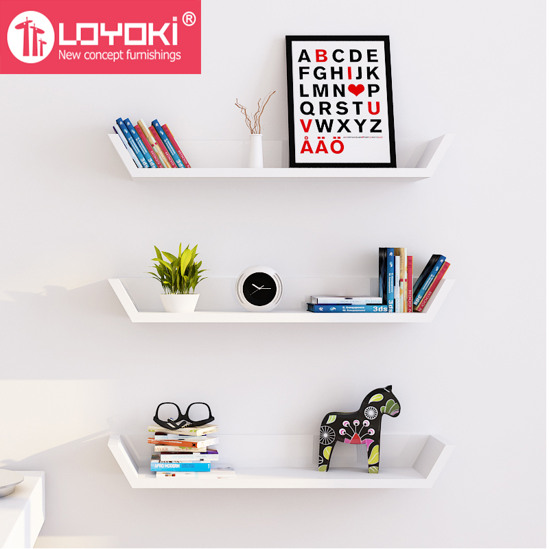 Multifunction Mdf Wood Trapezoid Shape Wall Shelf Computer Monitor Riser Stand High Gloss Floating Mount View Loyoki