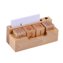 Mini Cube Number Wooden Natural Perpetual Calendar