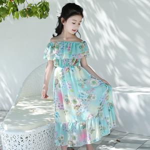 2019 bohemian style chiffon fabric girl's long toddler summer dress
