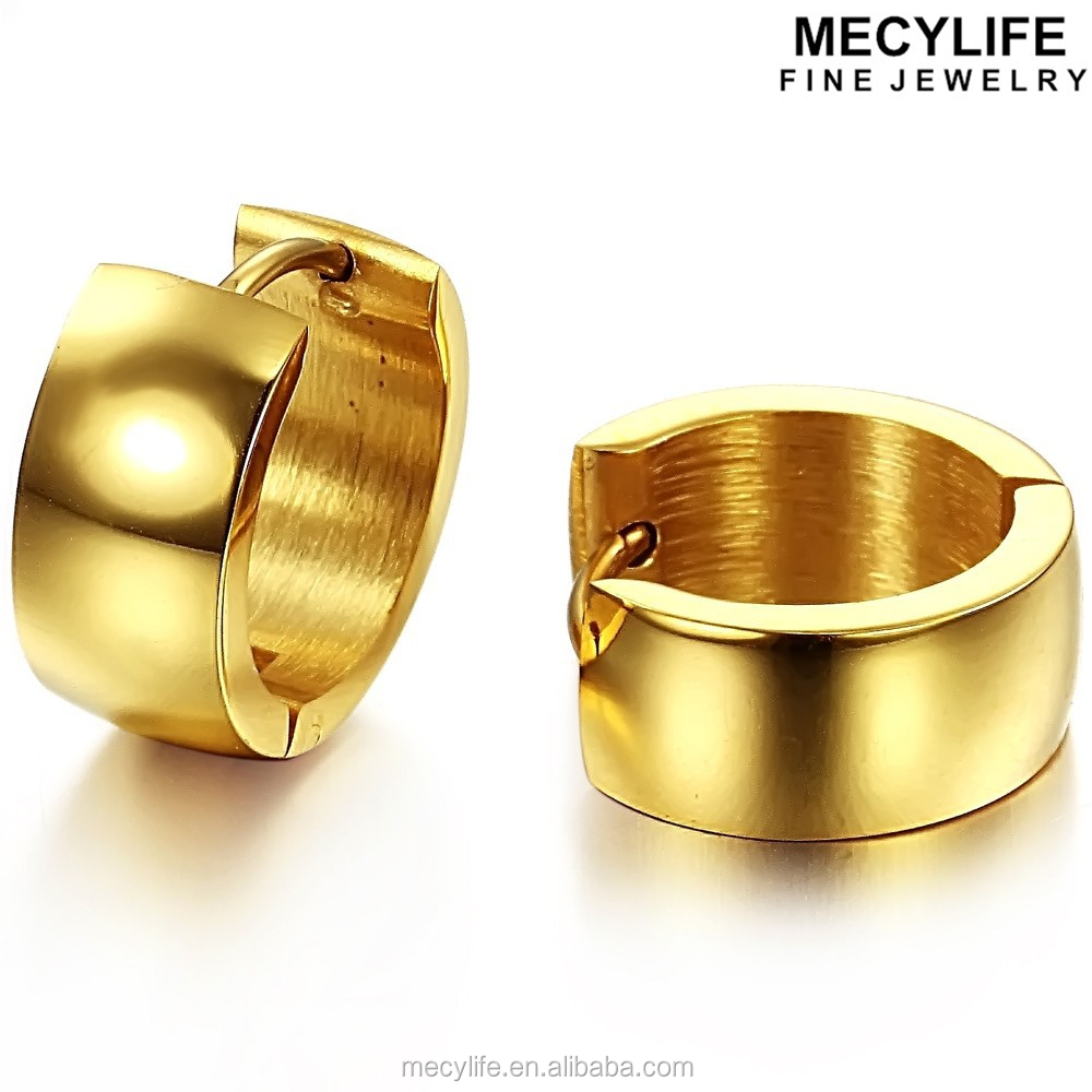 MECYLIFE 18K gold plated stainless steel earring gold huggie earring