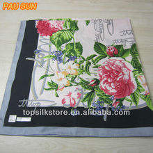 2015 Beautiful twill silk scarf digital printed 100% silk twill square scarf 90*90,designer brand twill silk scarf