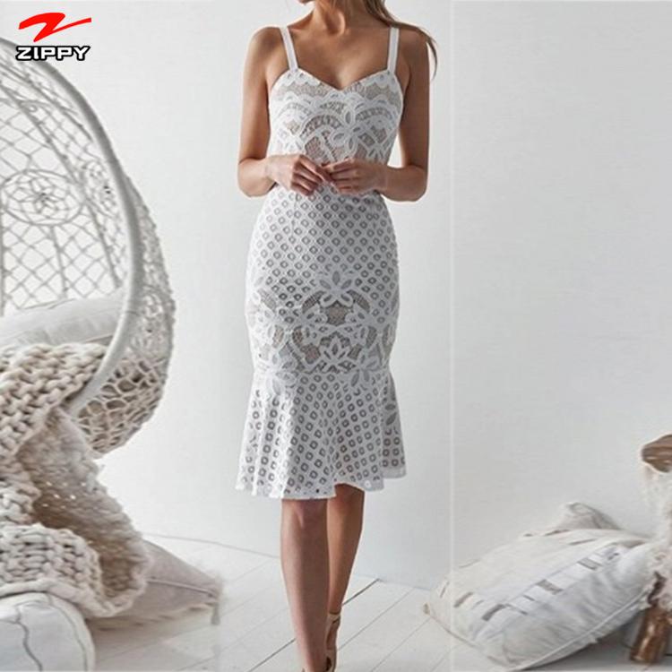 Fashion White V-neck Fishtail Hem Women Lace Bodycon Dress фото
