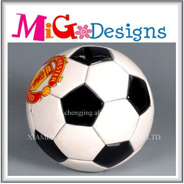 wholesale gifts welcome OEM ceramic soccer coin bank with reasonable price