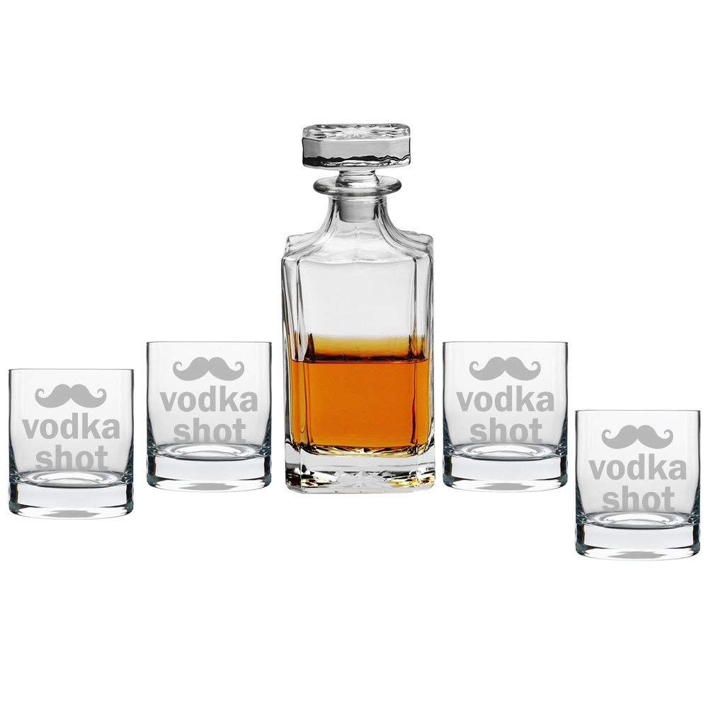 Vodka Shot - Mustache Silhouette Decanter with Engraved Rocks Glasses, Set of 5