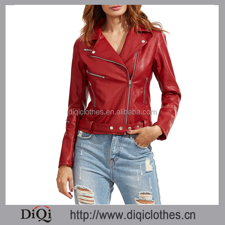 2017 Garment factory direct wholesale western styles women ladies fashion PU Leather Red Long Sleeve Lapel Zipper Jackets