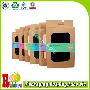 die cut kraft socks packaging box with window and hanging tag buy