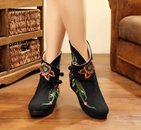 Woman winter chinese traditional warm mid-calf old beijing embroidered flower canvas increased internal canvas snow boots