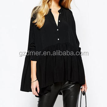 Hot selling fat women black Plus size blouse