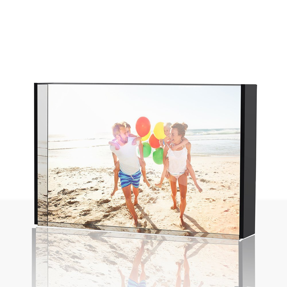 TWING Acrylic Photo Frame Clear Acrylic Block With Black Board 4x6 inches Desktop Frame 24mm Thickness