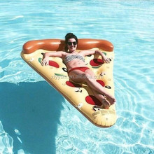 2017Factory direct sale water toy 180cm giant pizza slice floating bed inflatable pizza float / colorful Pizza Pool Slice Float