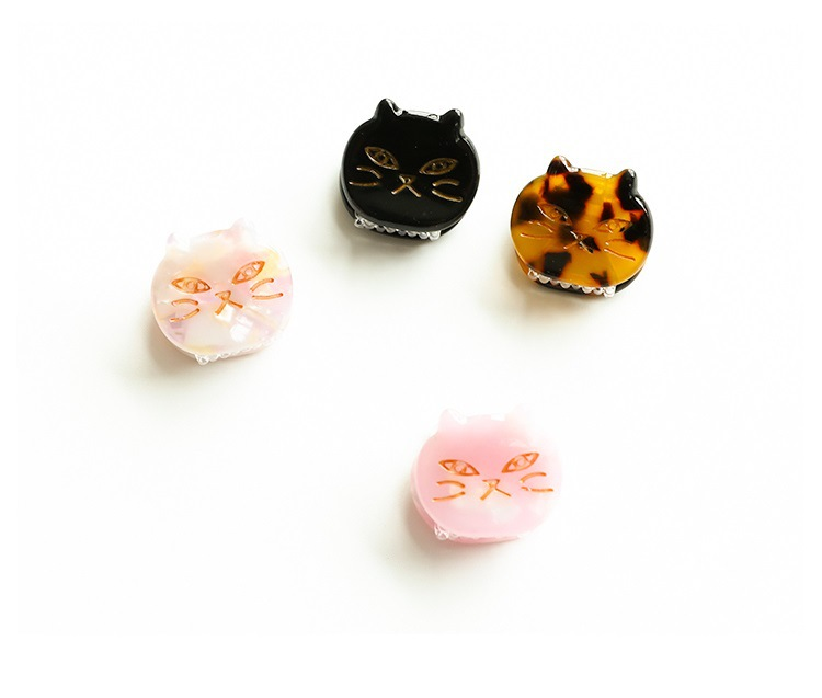 Newest Hair Accessories Cute Cat Acrylic Hair Clips Hot Sale Mini Size Animal Shape Cat Acetate Hairclips For Kids