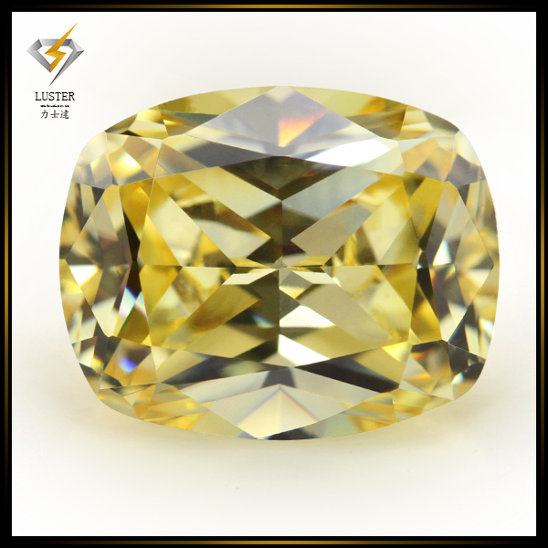 Machine Cut Light Golden Yellow Cushion CZ Wholesale Gems