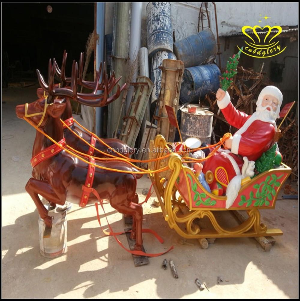 Christmas Decorations Life Size Santa: Life Size Christmas Santa Claus Reindeer Sleigh Fiberglass
