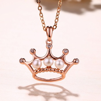 2017 New Product Crown Shape Gold Plated Natural Leaf Freshwater