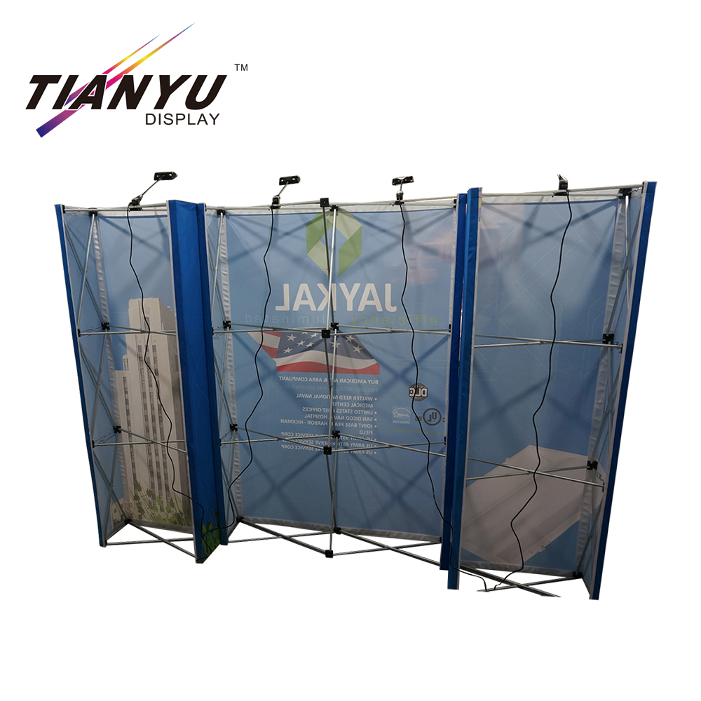 Modern Style Custom acrylic floor display Pop Up Stage Decoration Fabric Backdrop Stand