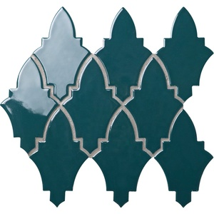 Villa glazed porcelain tile moroccan bathroom wall shield shaped blue green irregular mosaic tile
