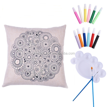 Diy Handpainted Kaleidoscope Cushion Cover Cotton Linen Pillow Case New Hand Painted Decorative Pillows