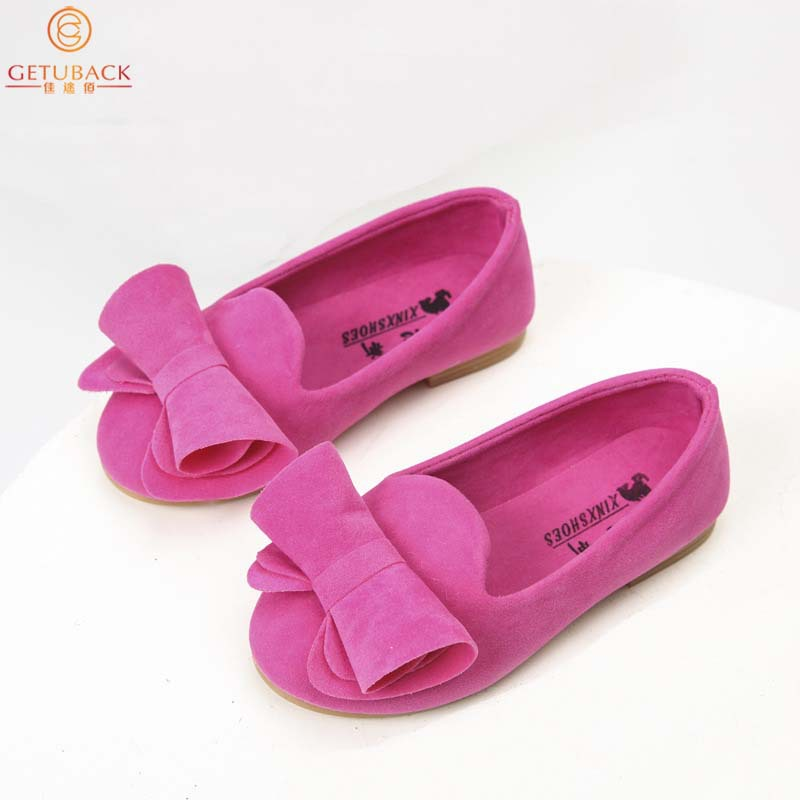 2015 New Autumn Girls Bow Leather Shoes Brand Non Slip Baby Peas Shoes Princess Sweet Comfortable Wear for Children,RJ205