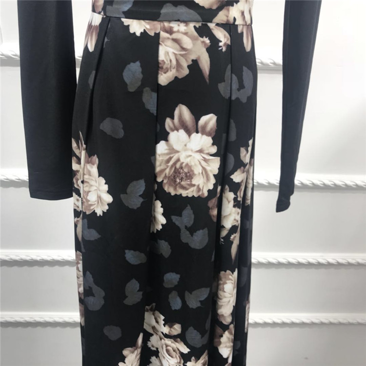 2019 Fashion Black Digital Flower Printing Skirts  for Muslim Lady in Stock