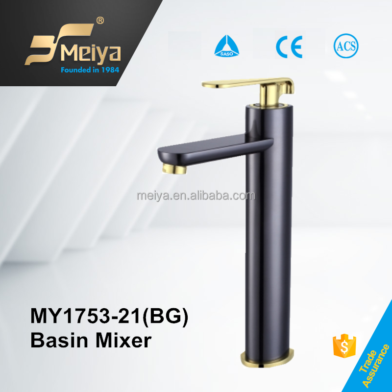 2017 new china factory basin taps black and gold double-color single handle copper basin tap modern basin taps faucets faucet