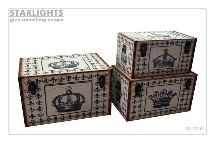 Printed canvas African animal elephant vintage wooden mdf storage trunk