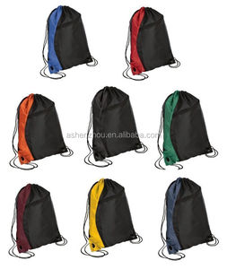 Factory new cheap custom colorful small waterproof polyester nylon drawstring beach bag with zipper pocket