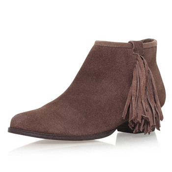Simple Style Fringe Zipper low Heel Tan Suede Ankle Boots Women s Chelsea  Bootie 22ee961c7e