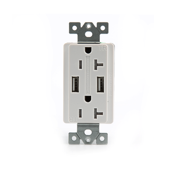 Shanghai Linsky 110V/220V GFCI USB charger outlet 20A 4.2Amp Dual USB wall socket TR Receptacle, wall plate,screws included,