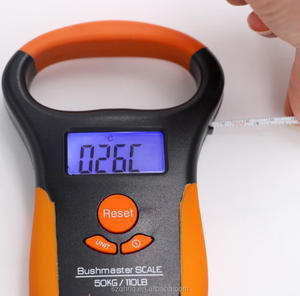 1M Measuring Tape Thermometer Function Digital Fishing Scale 50kg with LCD Backlit